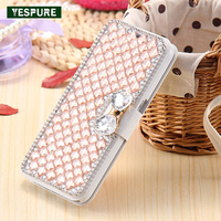 YESPURE Champagne Fancy Flip Fundas Celular Capa for Iphone 6 6s Luxury Leather Phone Covers Card Pocket Crystal Cell Phone Case