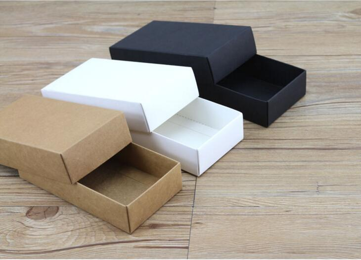 10 Sizes Kraft Black White Gift Carton Cardboard Box Kraft Blank Carton Paper Gift Paper Box With Lid Gift Packaging Box