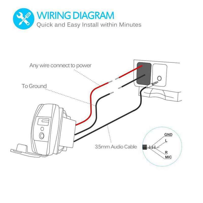 العالمي الروك نمط 2.1A USB شاحن سيارة مع 3.5 مللي متر AUX ميناء إضاءة led زرقاء ل لوحة مفتاح متأرجح
