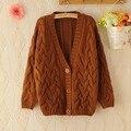 Twist Cardigan Sweater Jacket Spring Autumn Winter Korean V Collar Loose Knit Cardigan Khaki Navy Blue Brown Woman Sweater Coat