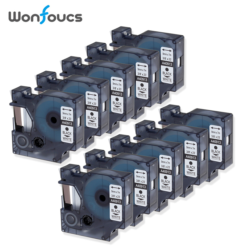 10 Pieces 40913 Replacement Dymo D1 Label Tapes S0720680 For Printer Label Maker 210 LM400 9mm