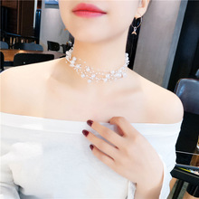 Jewelry Polyline Gold Multilayer Chain Imitation Pearls Necklaces For Women Wedding Bride Necklace