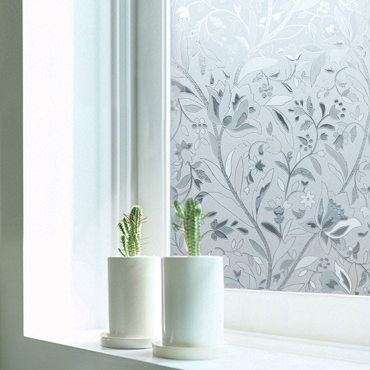 new tulip flower 3d static cling decorative privacy etched glass window film vinyl length 100cm