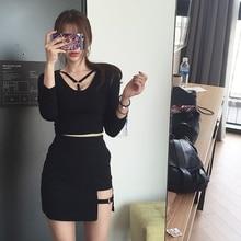 NEW Korean Style Black Package Hip Saia Skirts Gap Irregular Hem Pencil Micro Mini Skirt
