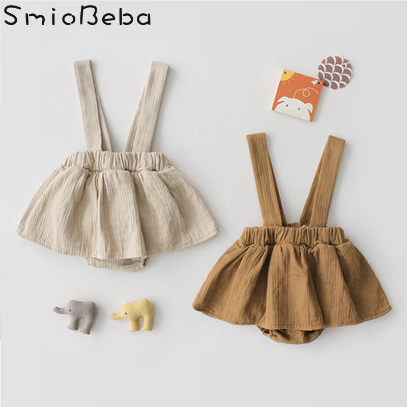 2019 Spring Harness Baby GIrls   Rompers   Toddler Girl Winter Clothes Sling Lovely Simple Cute Girls Sleeveless Solid   Rompers