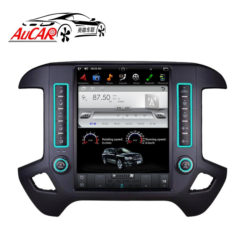 AuCAR Tesla стиль 12,1 Android 7,1 сенсорный экран радио для GMC Sierra Chevrolet Silverado gps навигации вертикальные ips AUX