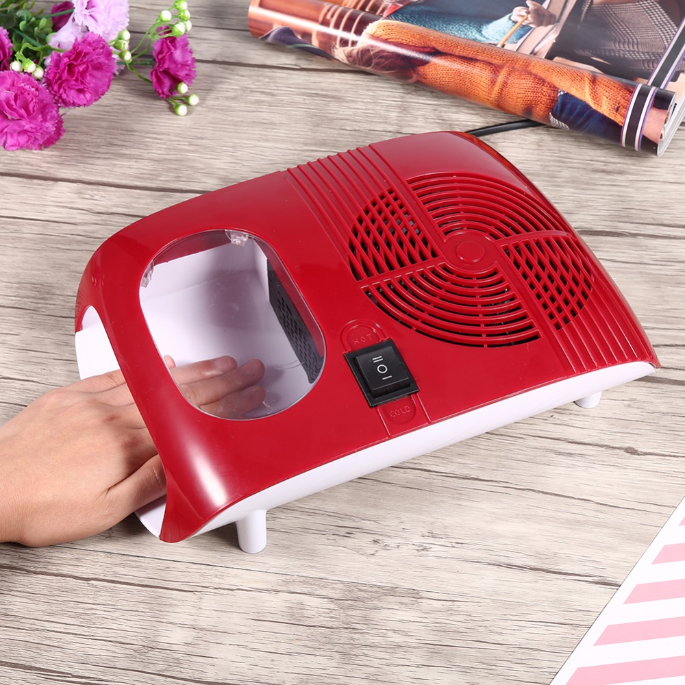 Hot & Cold Air Nail Dryer Blower Manicure for Drying Nail Polish & Acrylic Beauty Red Color 220V EU 110V US Plug Tool Fan free shipping new 2017 hot 13 single pure color series classic collection manicure nail polish strips nail wraps full nail sheet