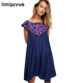 limiguyue bohemian people loose embroidery summer dress vest hippie chic boho dress mexican party dress runway Z0812 Платье