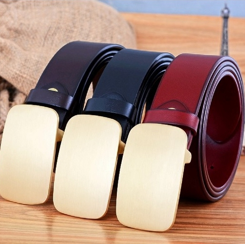 solid brass buckle belts for men mens belt full grain 100% genuine leather free shipment 2017 new style jeans high quality black