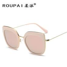 2017 Womens vintage Cat eye Sunglasses women brand designer fashion retro pink Polarized Mirror sun glasses for women men P0813