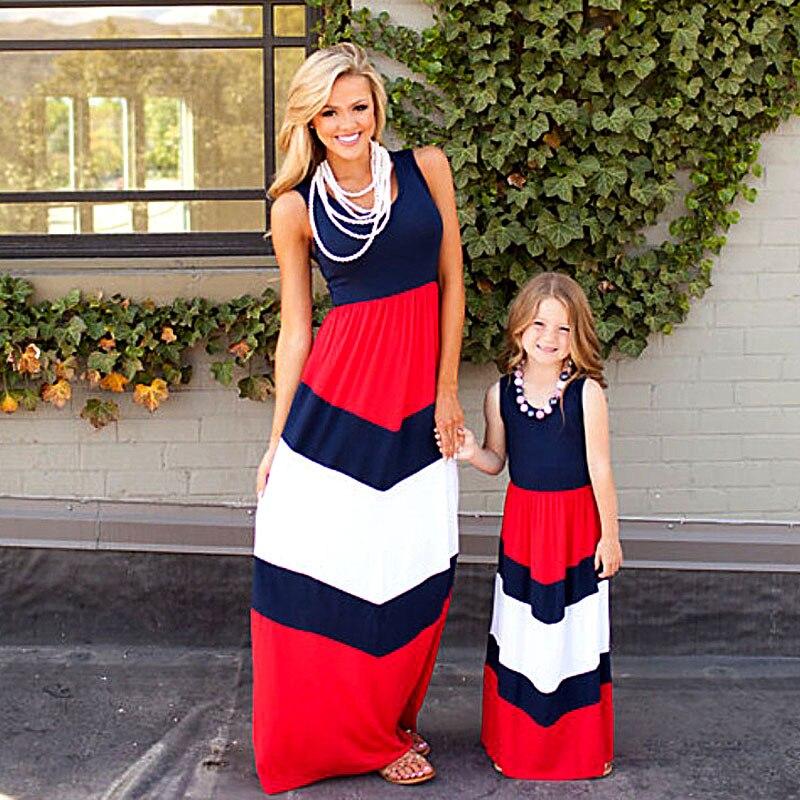 2018 Mommy and me combinando família mãe e filha vestido de mãe e filha se veste roupas listradas crianças roupas criança pai