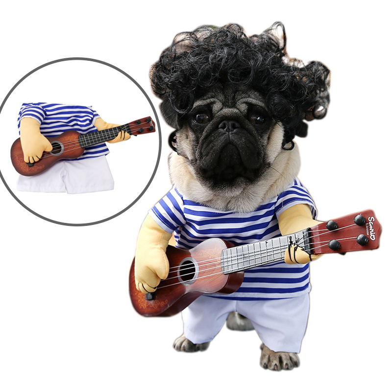 2017 Newest & Funny Pet Guitar Player Dog Costume Guitarist Dressing Up Party Clothes for Dogs Cats[ I WANNA BE A ROCKER ] fonksiyonlu rende