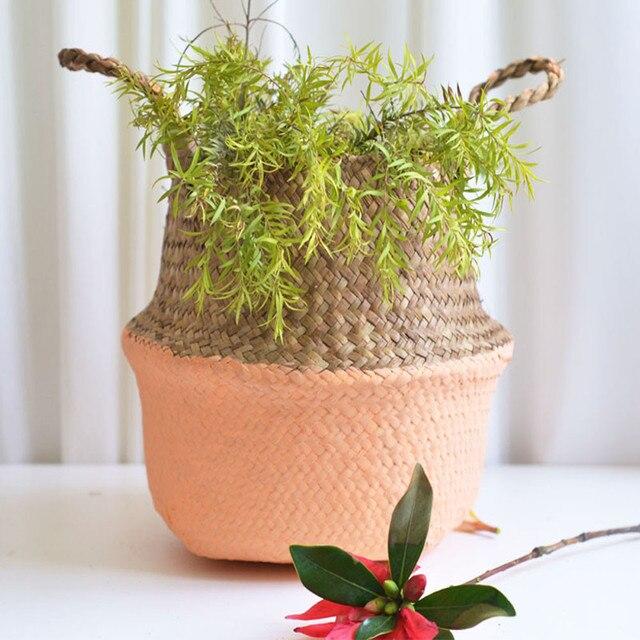 Mini Cestas De Bambu De Armazenamento Dobrável cesto de Roupa de Palha Patchwork Barriga Flor Pote Plantador de Vime Seagrass Cesta Handmade De Vime