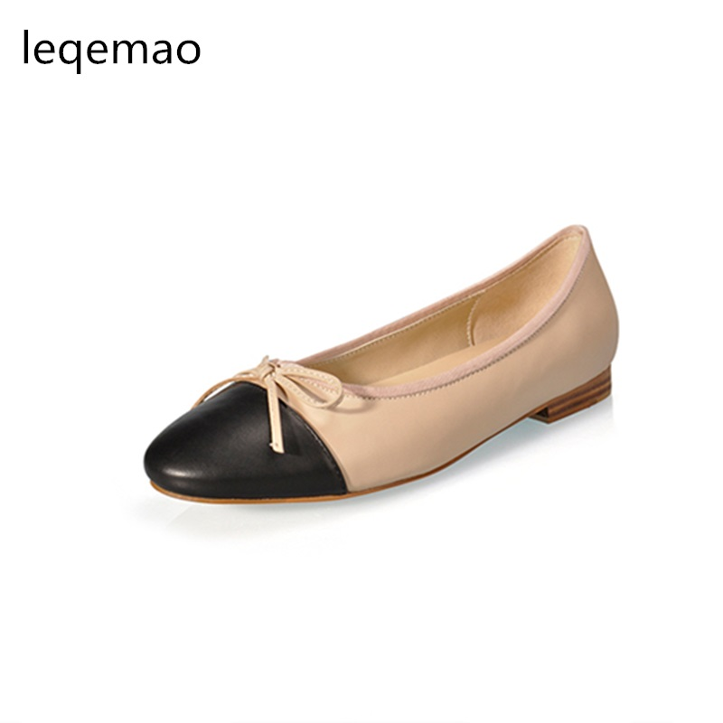 Hot Sale New Spring Autumn Fashion Women Shoes High Quality Genuine Leather Luxury Brand Bowtie Casual Ballet Flats Shoes 34-42 hot sale mens italian style flat shoes genuine leather handmade men casual flats top quality oxford shoes men leather shoes