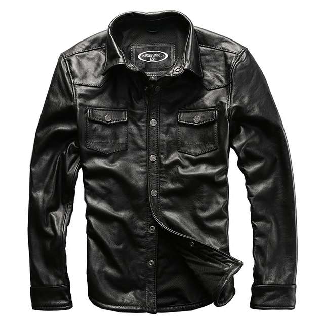 8f869045fcd35 Męska skóra bydlęca znosić mężczyzna skóry wołowej skóry naturalnej  rocznika rider kurtka