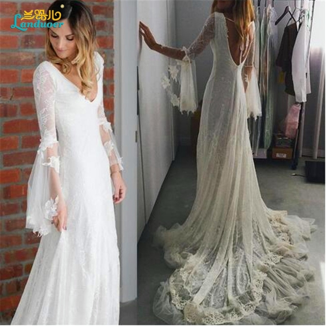 22000862670 2016 Romantic Backless Boho Wedding dress Bohemian Vintage Lace Deep V neck  Flare Long sleeve Beach