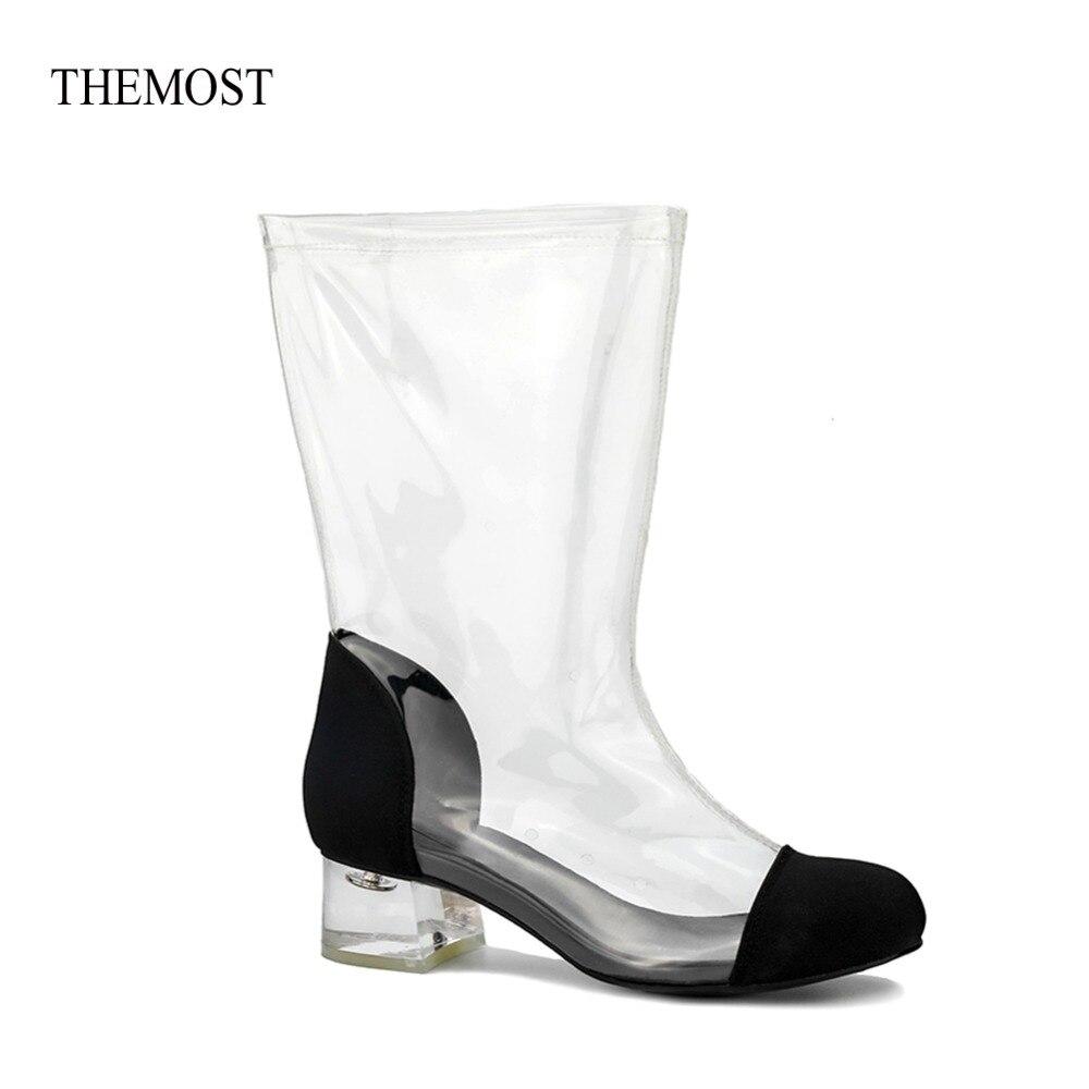 Style En Bout De Nouveau Courtes Transparent Themost Femmes Mode Chaussures Chaude Talon Bottes Vente Veau Amande Lucite Plexiglas Clair Fn8txPwxRq