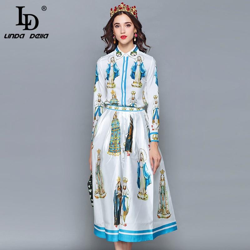 LD LINDA DELLA wiosna mody projektant spódnica dwa kawałki ustawić kobiet z długim rękawem z nadrukiem bluzki + spodnie na co dzień spódnice zestaw garnitur w Zestawy damskie od Odzież damska na  Grupa 2