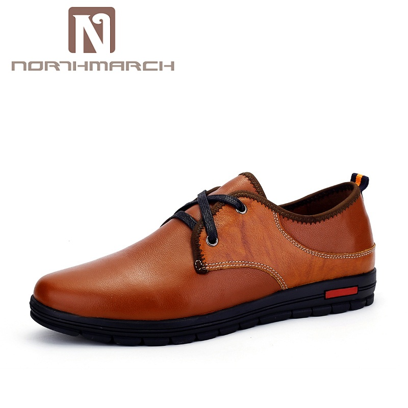 NORTHMARCH New Spring Summer Fashion Genuine Leather Men Shoes Comfortable Flat Shoes Loafers Lace Up Sneakers Men Casual Shoes 2016 spring summer new old leather lace round japanese casual shoes retro fashion leather shoes