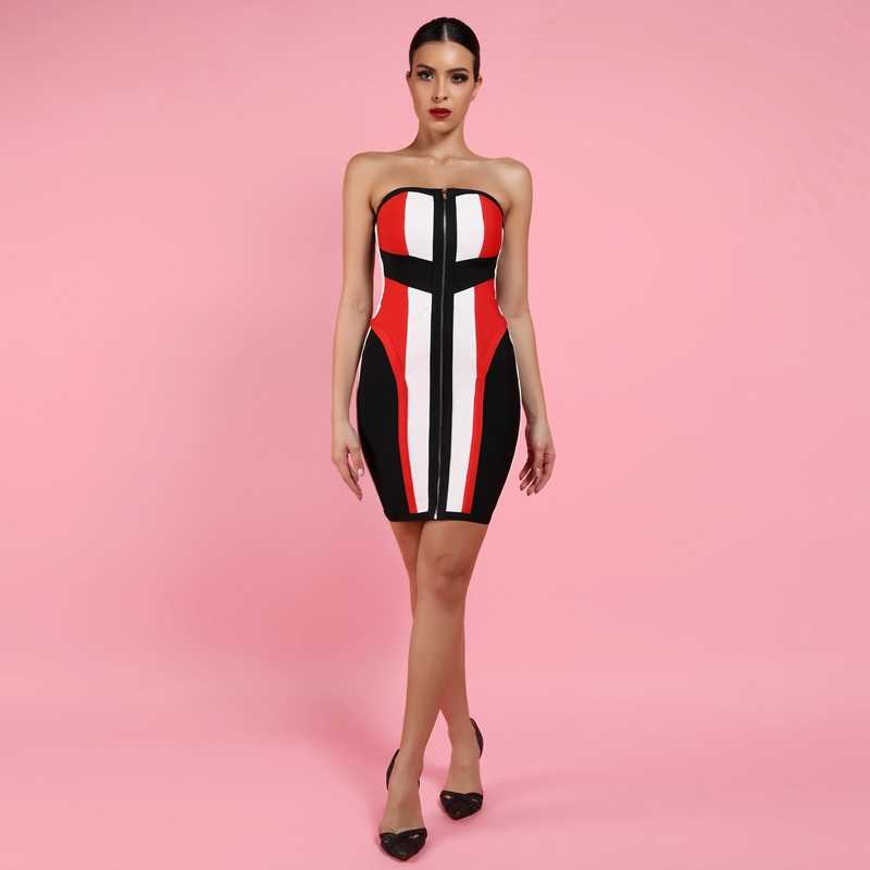 Cerf dame Bandage robe 2019 nouvel an rouge et noir moulante Bandage robe Sexy partie sans bretelles Bandage robe Zipper dos
