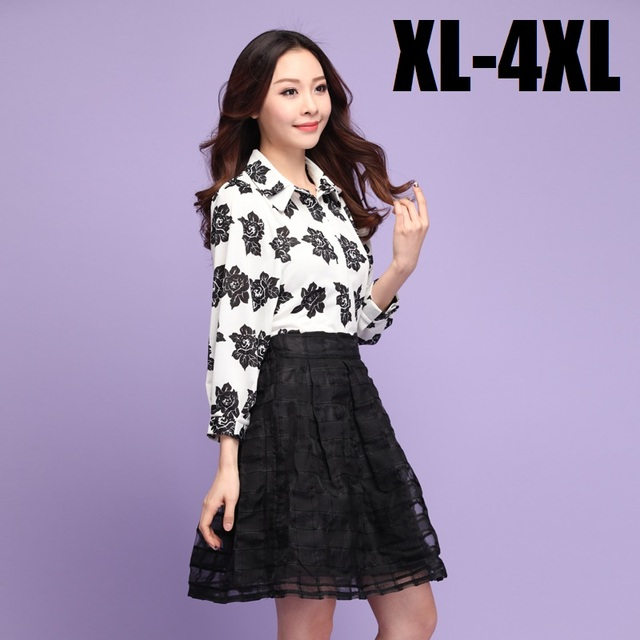 New2015 plus size women twinset Work Suit rose printed lapel collar shirt and ball gown skirt top+skirt two pcs set blouse XXXXL