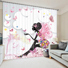 Butterfly Girl 3D Printing Curtains With Bedding Room Living Room or Hotel Cortians Thick Sunshade Window Curtains
