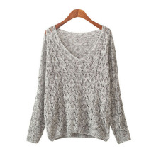 SUOGRY 2018 Spring Autumn Cotton Blends Sweaters Women Fashion Sexy V-Neck Sweater Loose Wool