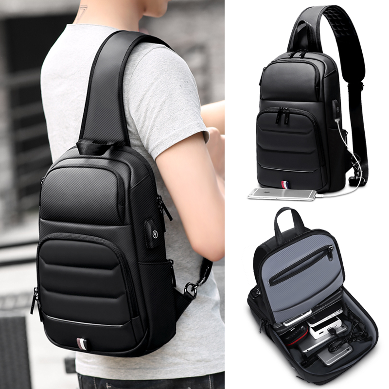 Image 4 - FRN new Crossbody Shoulder Bag for Men Sling Bag Usb Charging Short Trip Casual Messenger Bags Water Repellent Chest Bag Male-in Waist Packs from Luggage & Bags