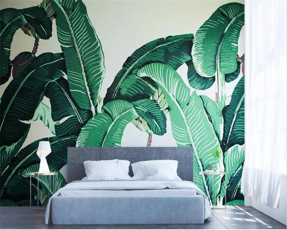 Beibehang Custom Wallpaper Murals Modern fashion small fresh green banana leaf oil painting background wall 3d wallpaper in Wallpapers from Home Improvement