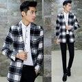 Clássico Mid Longo Blazer Jaqueta Casual Roupa Plus Size 4XL 5XL Mistura De Lã de Design de moda Slim Fit Homens do Revestimento do Revestimento Blazer Tendência