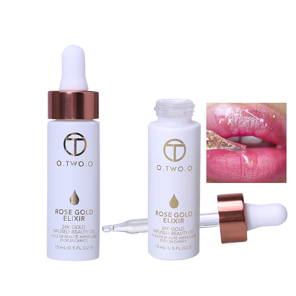 24K Rose Gold Makeup Beauty Essence Fluid Nutritious Liquid Transparent With Gold Foil Make Up Primer Beauty Oil Easy To Absorb