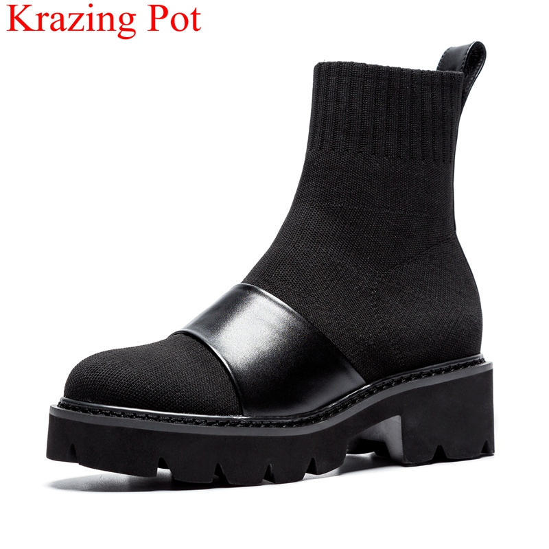 2018 superstar round toe slip on ankle boots elegant med heels strech motorcycle boots solid runway casual party shoes L32  2018 superstar round toe slip on ankle boots elegant med heels strech motorcycle boots solid runway casual party shoes L32