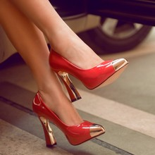 Metal Pointed Toe Women's Pumps 2016 Fashion Ultra High Heels Single Shoes Platform Shoes Spring Zapatos Mujer Tacon