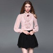 2017 New Fashion Lace Appliques Patchwork Blouses Siamese Shirt Top 2 Pcs Set D078