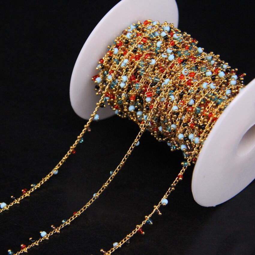 5 Metro/lote, Multicolor Cubo Contas Corrente Do Rosário, rosário de Vidro com Fio cor de Ouro Envolto pulseira Cadeia camisola Das Mulheres cadeias jóias