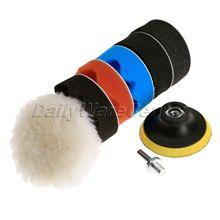 8Pcs/Set 3inch Polishing Buffing Pad Sponge Kit Car Polisher W/ M10 Thread Adapter Car Wash Auto Detailing Cleaning Car Styling