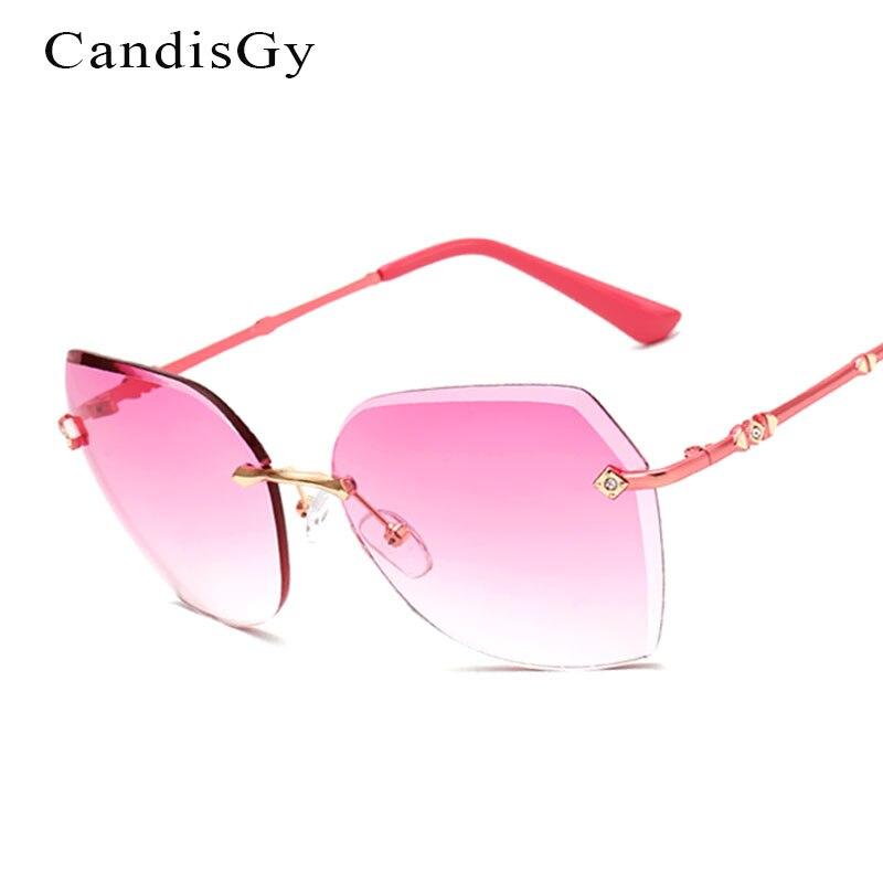 QB37 Mirror 2017 New Brand Designer Lady Female Super Luxury Sun glasses UV400 Metal Frame Gradient Rimless Sunglasses Women