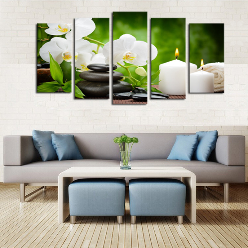 5 Panel Modern Abstract Flower Painting On Canvas Wall Art Cuadros Flowers Picture Home Decor For Living Wall Art Room Frame in Painting Calligraphy from Home Garden