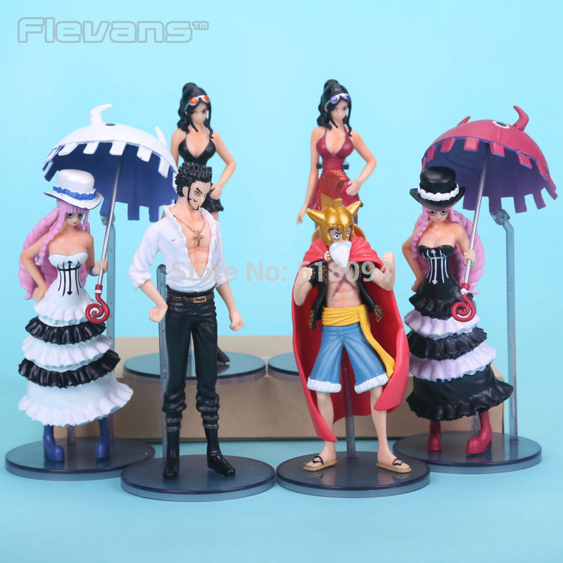 Anime Cartoon One Piece Figures Luffy Robin Dracule Mihawk Perona PVC Action Figures Toys 6pcs/set OPFG397 genshuo 2017 women sexy valentine pointed toe stiletto high heels shoes ladies wedding dress bridal designer pumps zapatos mujer