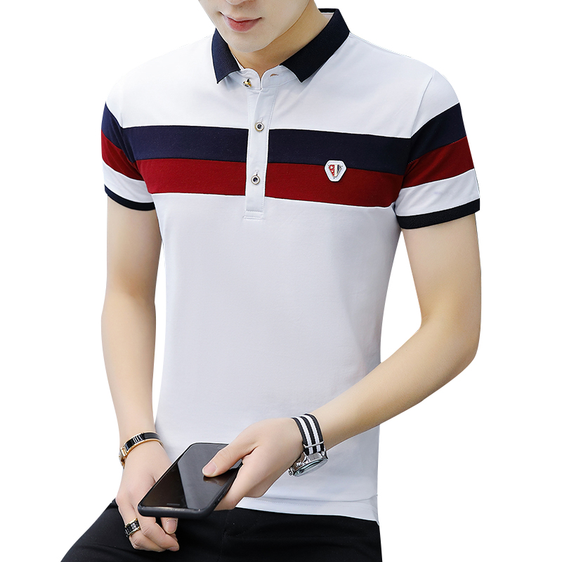2019 Summer Fashion   Polo   Shirt Men Casual Slim Fit Patchwork Short Sleeve Men's   Polo   Shirts Cotton Breathable Tops Tees