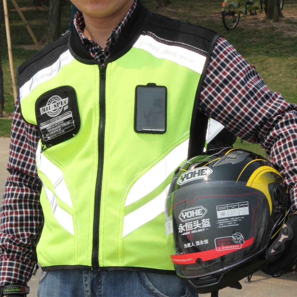 Men/'s Reflective Safety Motorcycle Vest Motocross Racing sleeveless Jacket Coat