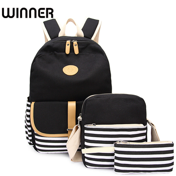 3pcs/set Canvas Fringe Women Backpack Student Book Bag with Purse Laptop Bagpack Lady School Bag for Teenager Girls