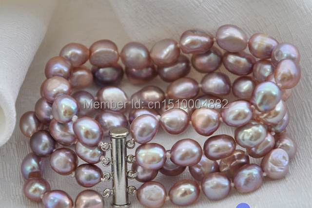 "shitou 00295 4row 8"" lavender baroque freshwater cultured pearl bracelet agate"