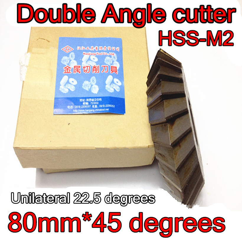 80mm 45 degrees 27mm Inner hole Unilateral 22 5 degrees HSS M2 Double Angle Milling cutter