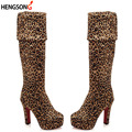 Fashion Leopard Winter Boots  Women Over Knee Suede Stretch Sexy Platform High Heel Boots Women Shoes Plus Size 34-43 OR988924