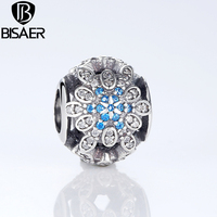 2016 Classic Original 925 Sterling Silver Blue Crystals Charm Fit Original Pandora Beads Bracelet Jewelry Wedding Gift HJS249