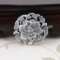 S990 غرامة الفضة العتيقة الطراز قلادة الفاوانيا زهرة قلادة الإناث