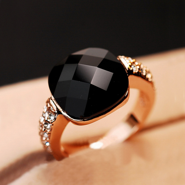 Black Semi-precious stone Wedding Rings for women Zircon Jewelry Anel Rose Gold color Crystal rings female gift toq quality