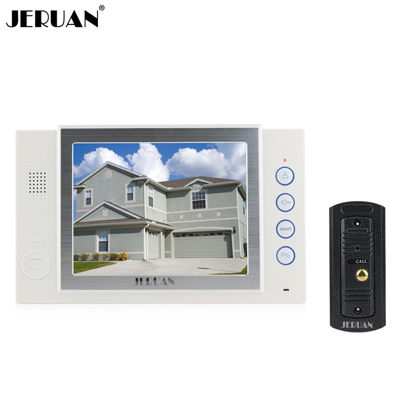 JERUAN 8 inch video door phone doorbell intercom system  doorphone recording & photo taking video doorphone rain cover jeruan 8 inch video door phone high definition mini camera metal panel with video recording and photo storage function