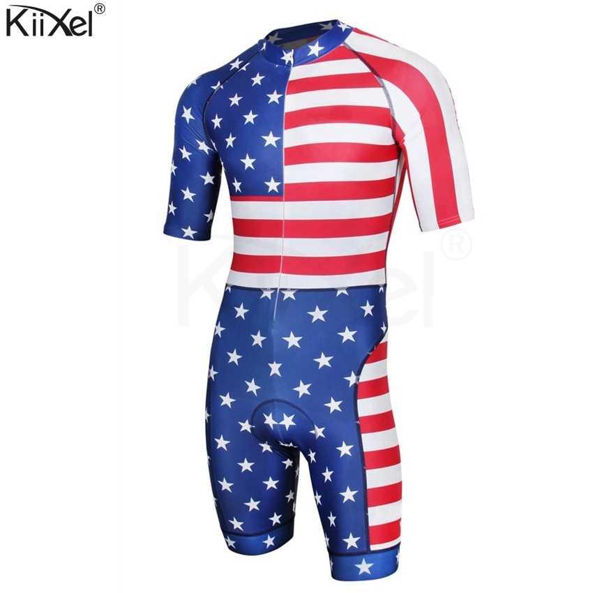 Merek Amerika Serikat Triathlon Olahraga Pakaian Bersepeda Skinsuit Pria Bersepeda Pakaian Set Ropa De Ciclismo Maillot Pro Ras Skinsuit #003